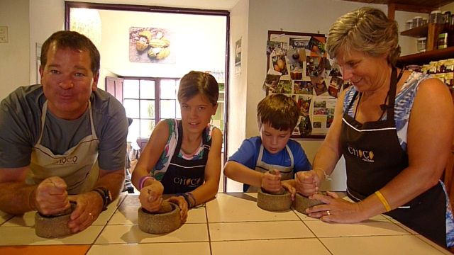 Grinding cocoa beans at the Choco Museo