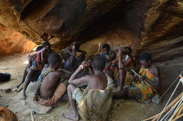 Hadzabe men before hunting