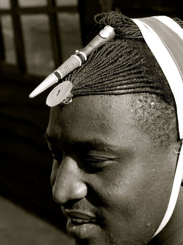 Intricate braids typical of northern Maasai men