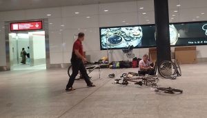 Putting bikes together in the Zurich Airport