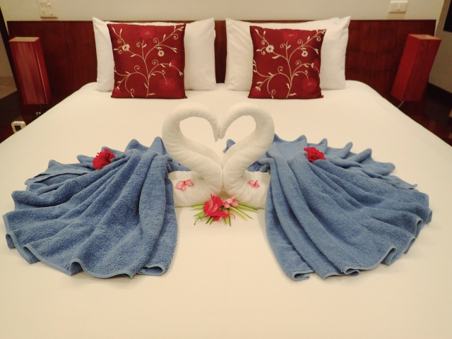 Our welcoming towel sculpture.  There was a new one most every day.