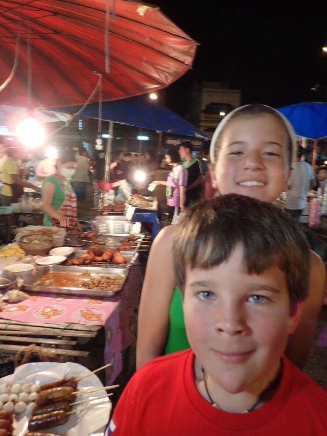 Finding dinner at a night market in Krabi