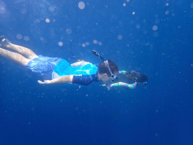 Snorkeling in the blue waters