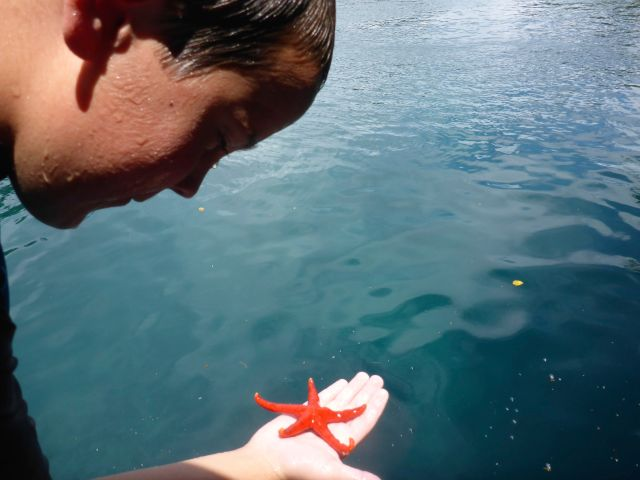 Mac inspecting a tiny sea star